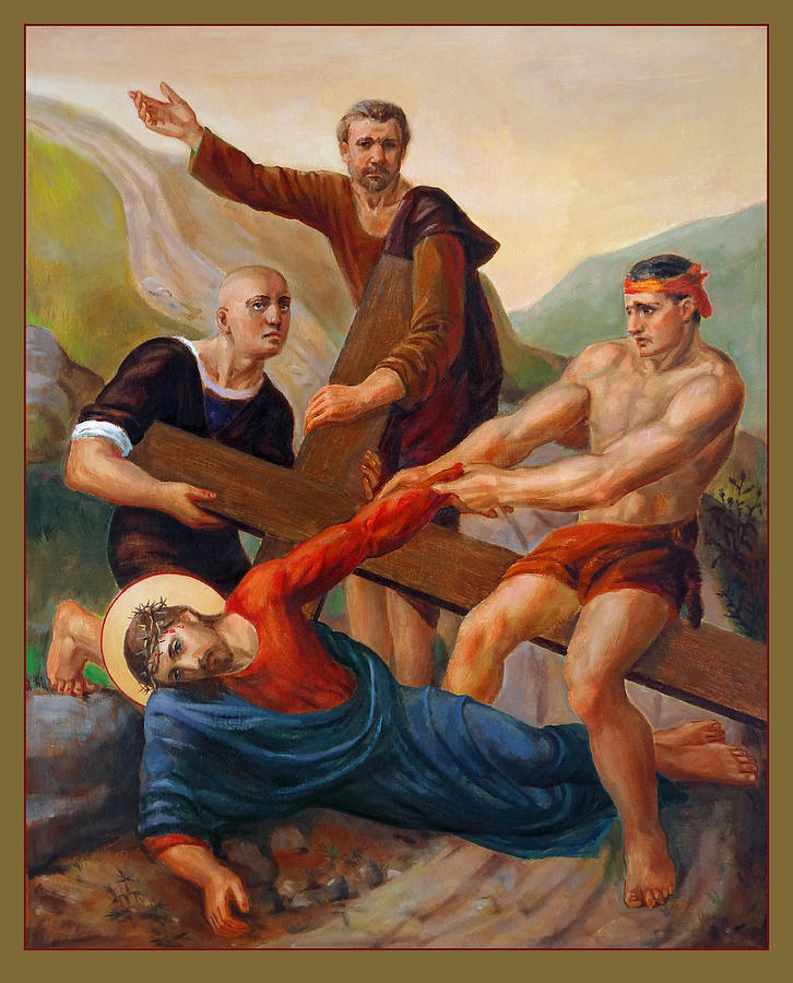 Via Dolorosa. Station 9. The Way Of The Cross Painting