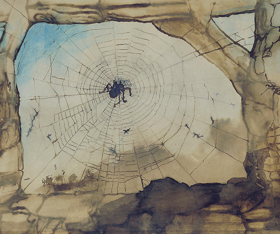 Vianden Through A Spiders Web Painting