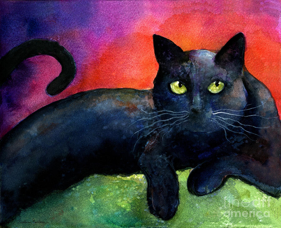 Vibrant Black Cat Watercolor Painting  Painting