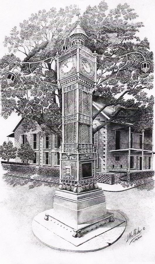Landscape Drawings Drawing - Victoria Clock Tower by Jimmy McAlister