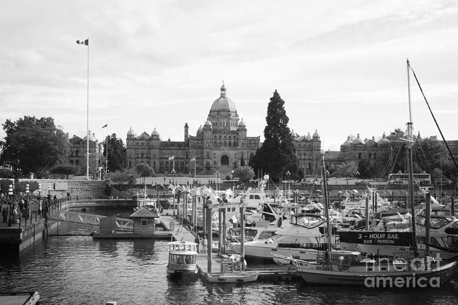 Victoria Harbour With Parliament Buildings - Black And White Photograph
