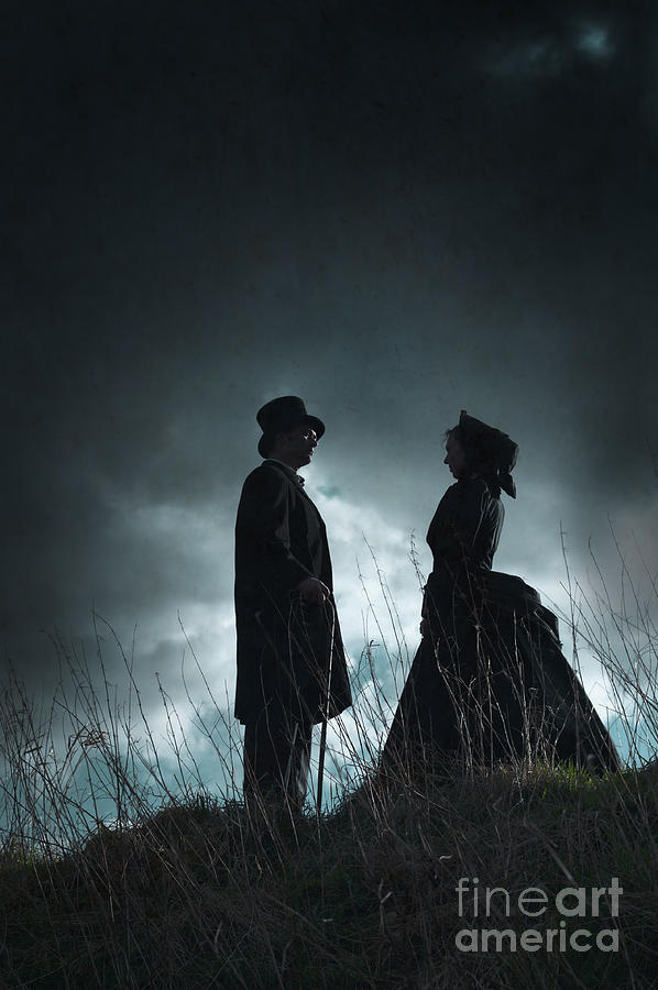 Victorian Couple Face On Another Before A Stormy Sky Photograph