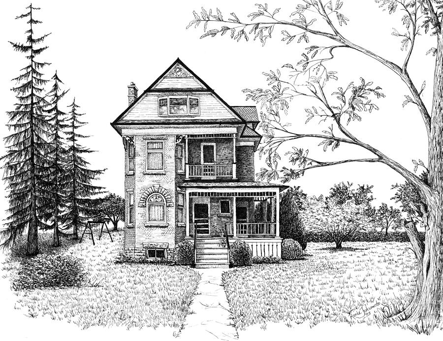 Victorian Farmhouse Pen And Ink Drawing