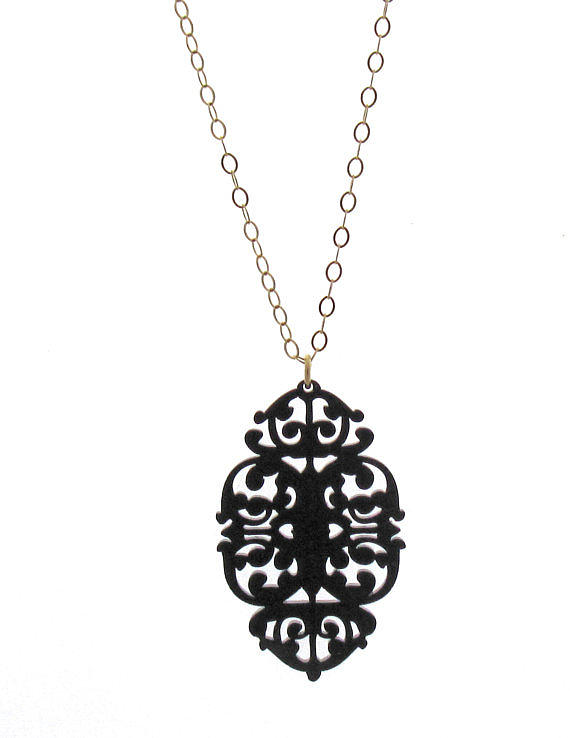 Victorian Lace Statement Long Necklace Jewelry