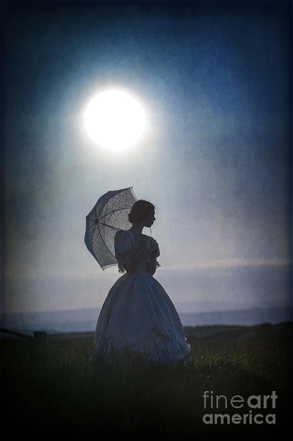 Victorian Woman Silhouetted By A Full Moon Photograph By