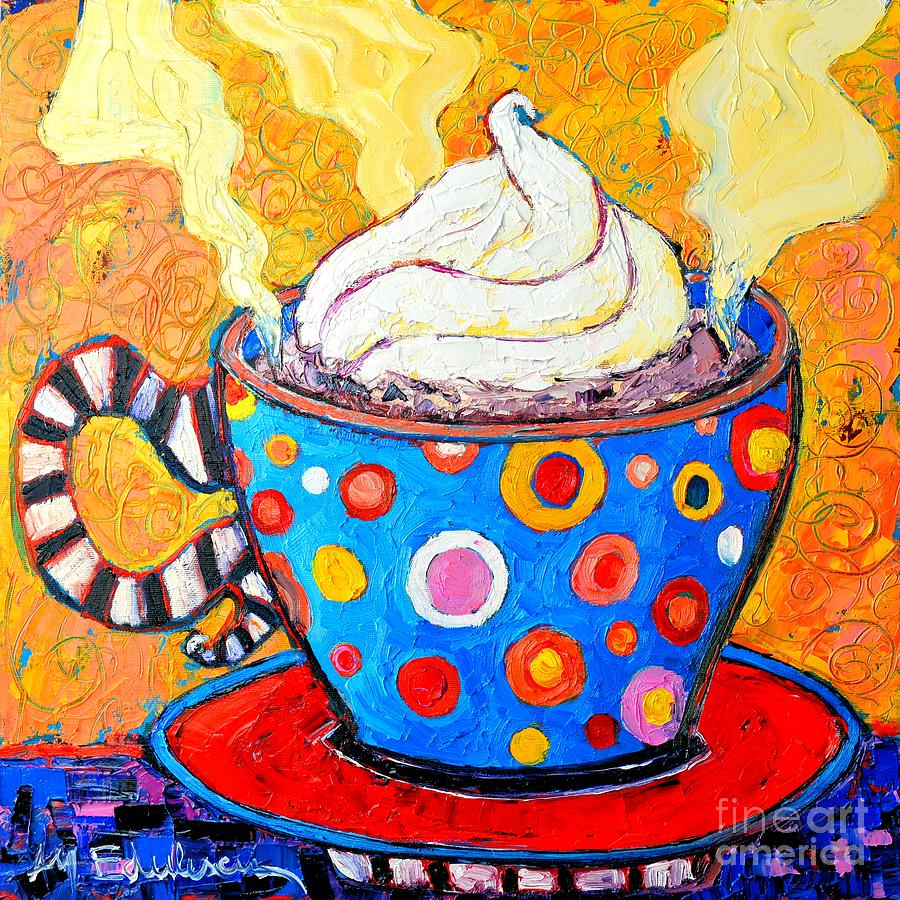 Viennese Cappuccino Whimsical Colorful Coffee Cup Painting