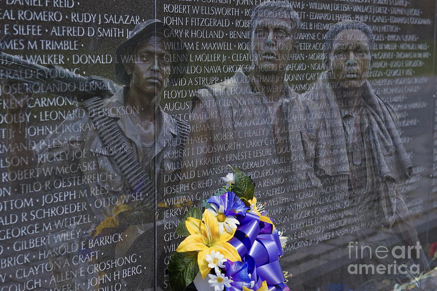 Vietnam Veteran Wall And Three Soldiers Memorial Collage
