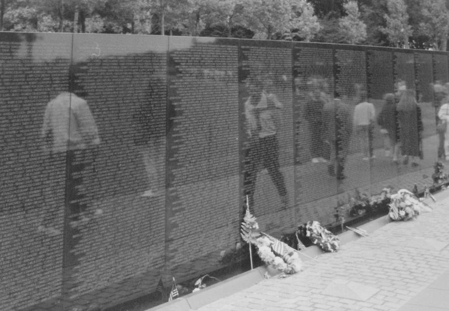 Vietnam Wall Reflections Bw Photograph