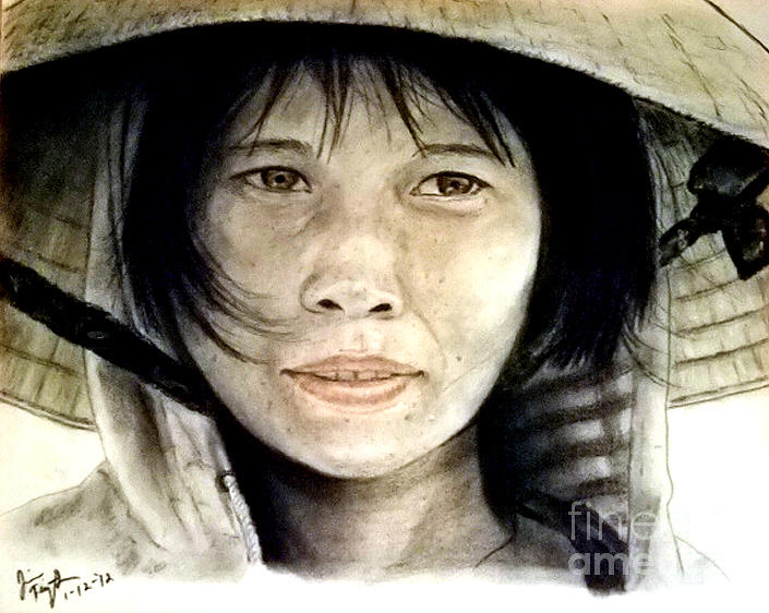 Vietnamese Woman Wearing A Conical Hat Pastel