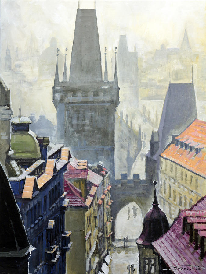 View From The Mostecka Street In The Direction Of Charles Bridge Painting
