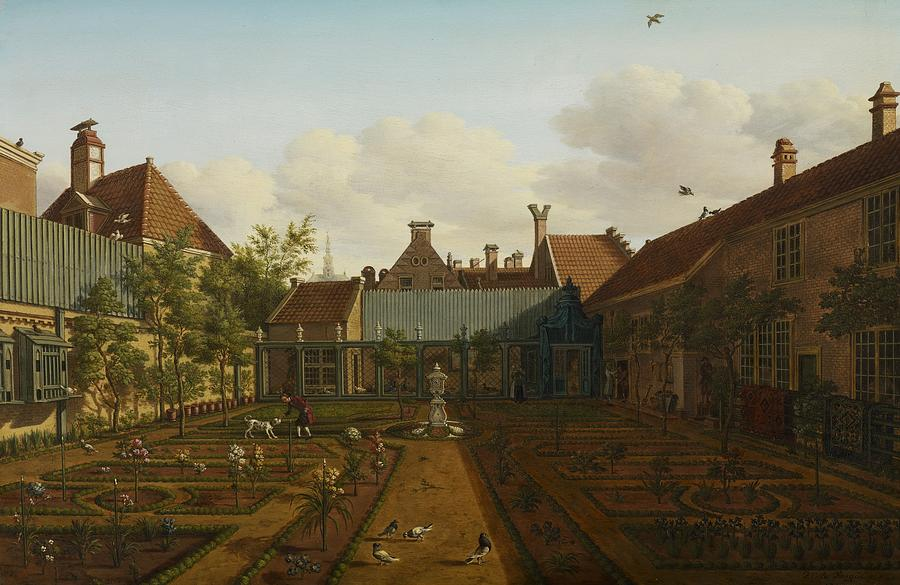 View Of A Town House Garden In The Hague Painting  - View Of A Town House Garden In The Hague Fine Art Print