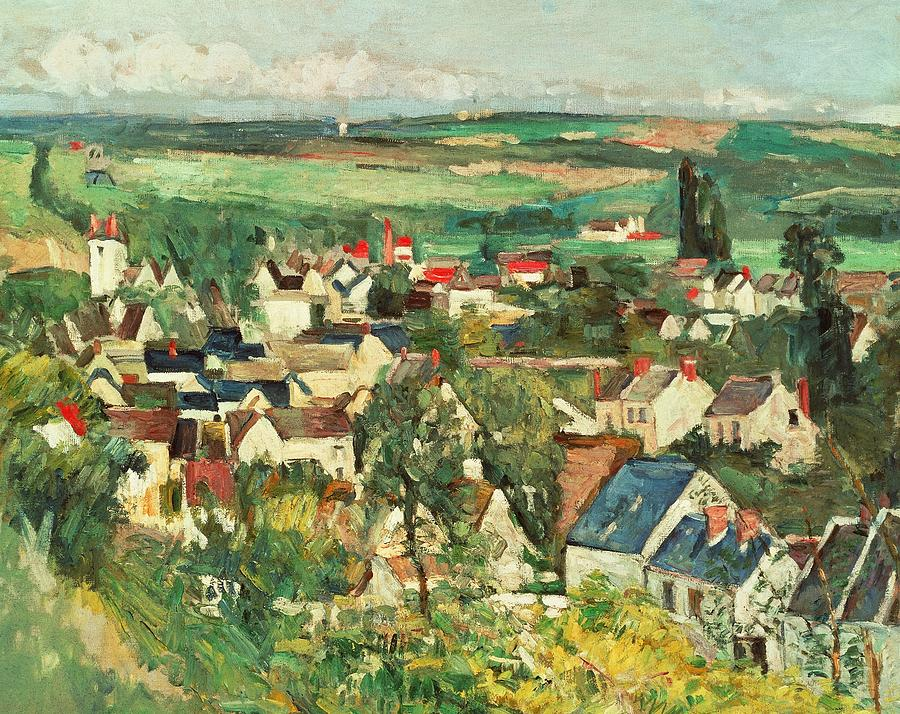 View Of Auvers From Above Painting  - View Of Auvers From Above Fine Art Print