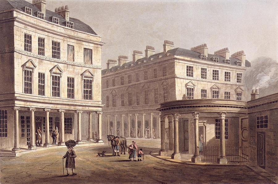 View Of Cross Bath, Bath Street Drawing