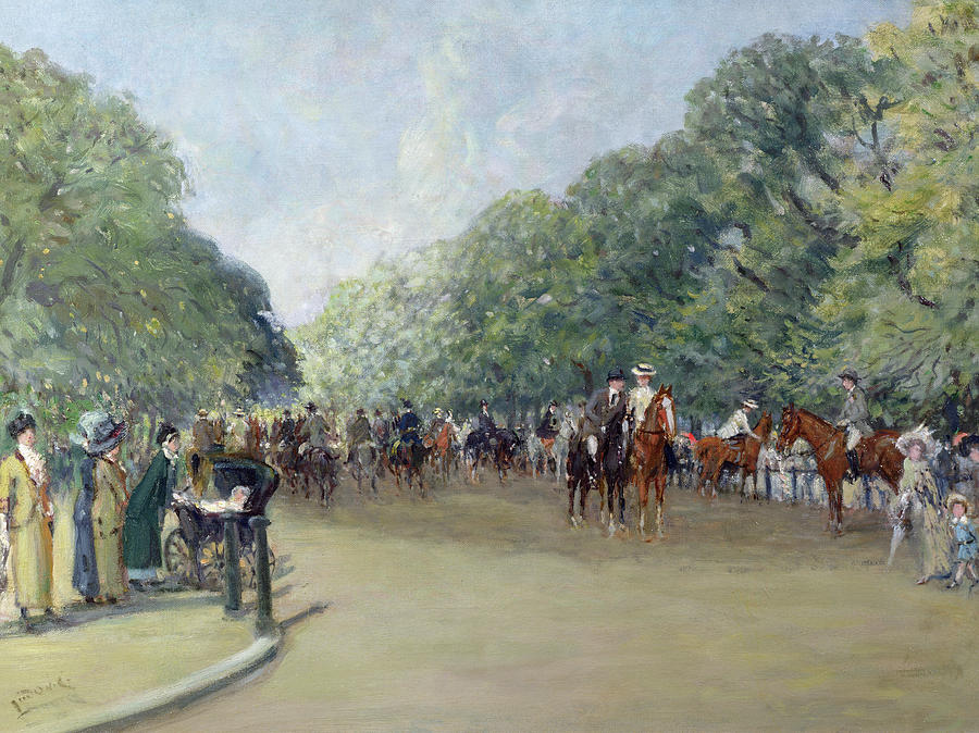 C19th Painting - View Of Hyde Park With Figures On Rotten Row  by Albert Jnr Ludovici