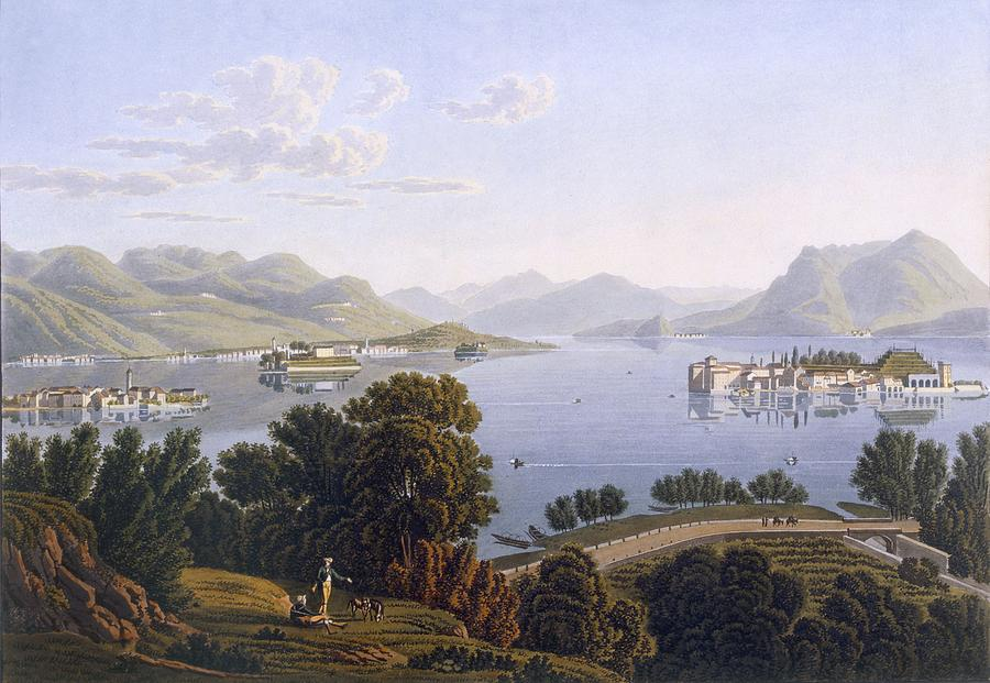 View Of Lake Maggiore And The Borromean Drawing