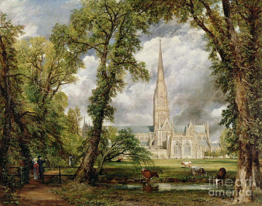 View Of Salisbury Cathedral From The Bishops Grounds Painting - View Of Salisbury Cathedral From The Bishops Grounds by John Constable
