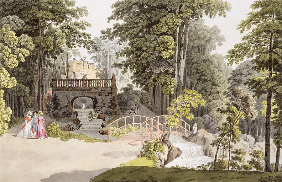 View Of The Cascade At Erlaw, Vienna Drawing