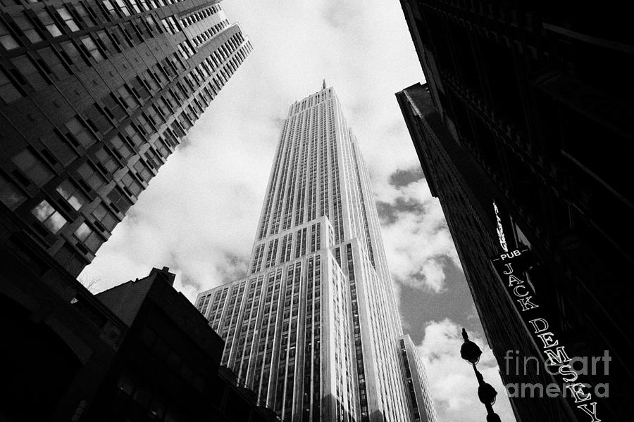 View Of The Empire State Building And Surrounding Buildings And Cloudy Sky West 33rd Street New York Photograph