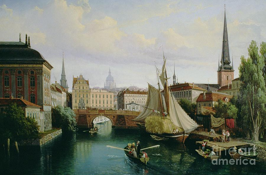 Town Painting - View Of The Riddarholmskanalen by Gustav Palm