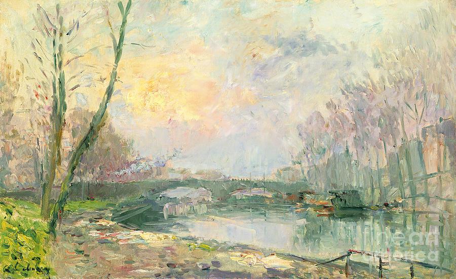 View Of The Seine Paris Painting