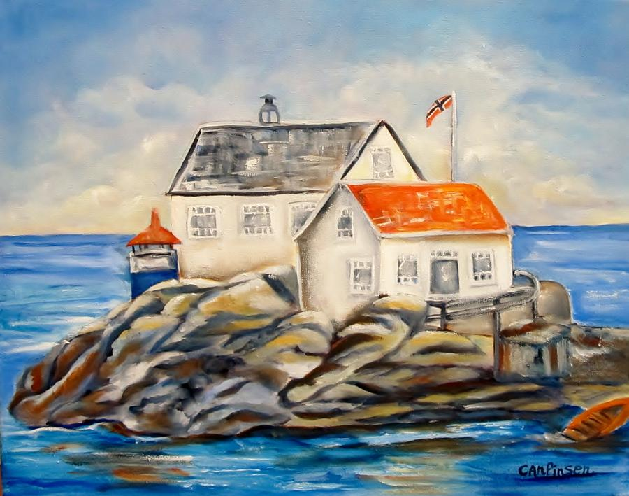 Vikeholmen Lighthouse Painting - Vikeholmen Lighthouse II by Carol Allen Anfinsen