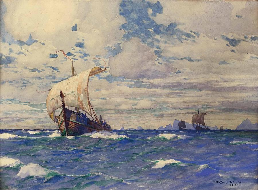 Viking Ships At Sea Painting