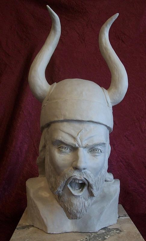 Figurative Sculpture Sculpture - Viking Yell by Clay Workman