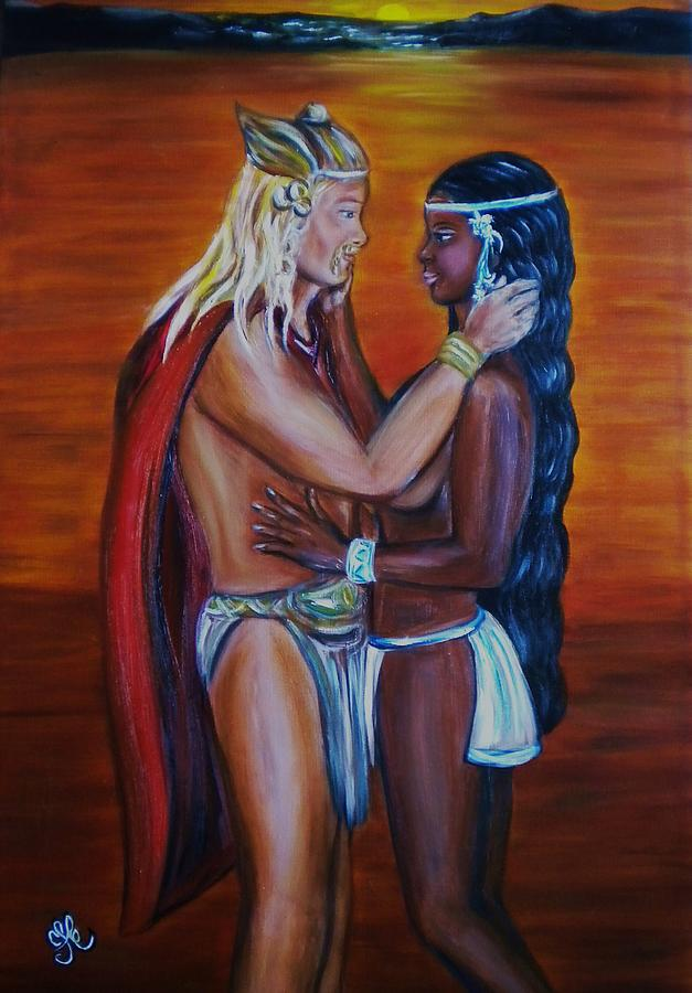 Vikings Discover America - Interracial Lovers Series Painting  - Vikings Discover America - Interracial Lovers Series Fine Art Print