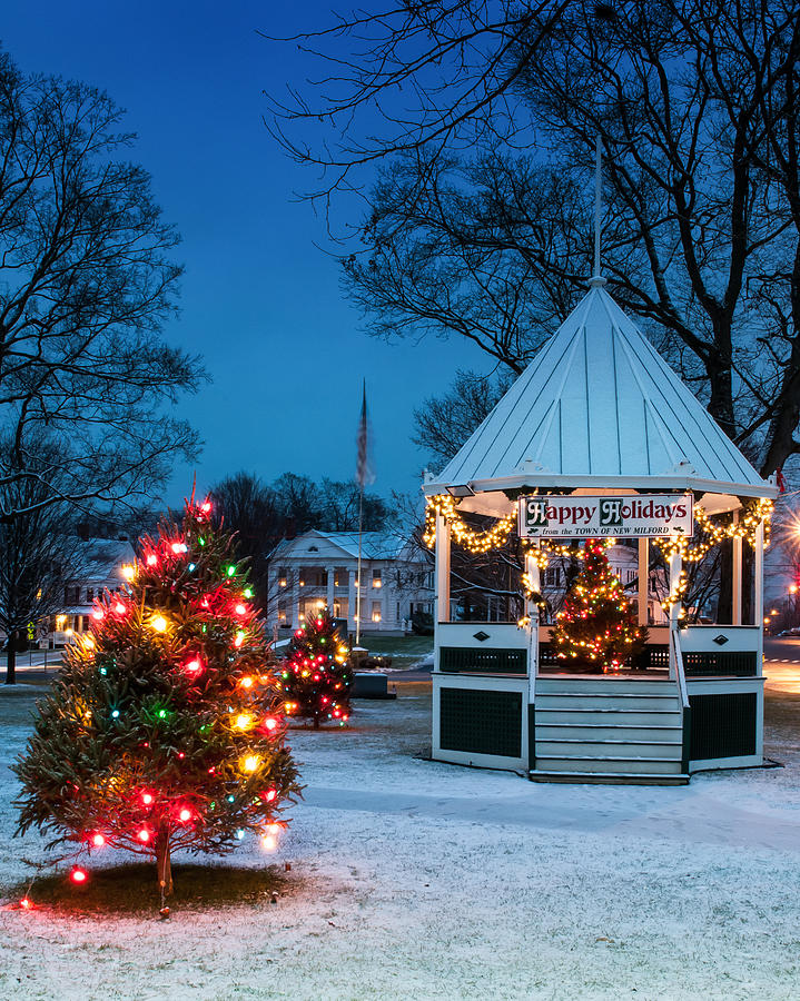 New England Photograph - Village Green Holiday Greetings- New Milford Ct - by Thomas Schoeller