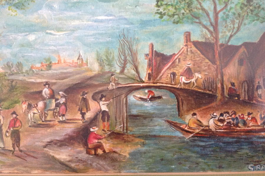 Scenery Of A Lively Village Life With Boating Painting - Village Landscape by Egidio Graziani