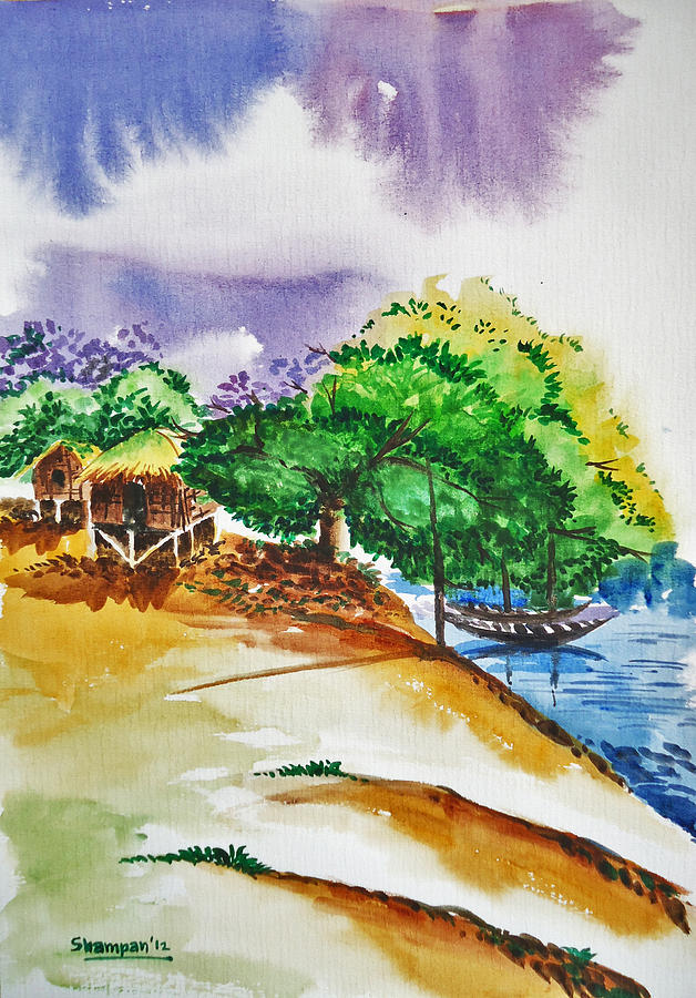 Village Landscape Of Bangladesh 3 Painting  - Village Landscape Of Bangladesh 3 Fine Art Print