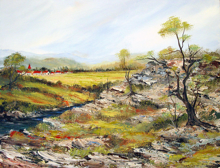 Village Of The Valley Painting