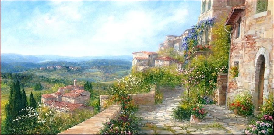 Village Panorama 60x120 Painting By Antonietta Varallo