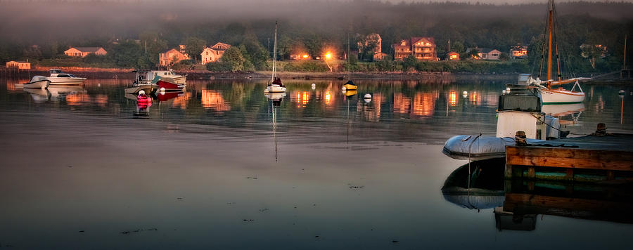 Village Reflections From Southwest Harbor Photograph  - Village Reflections From Southwest Harbor Fine Art Print