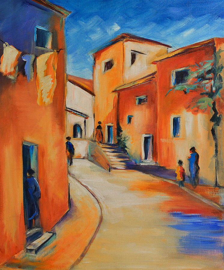 Village Street In Provence Painting  - Village Street In Provence Fine Art Print