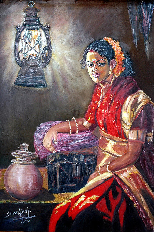 Oil Paintings Painting - Village Woman by Sanakaranarayanan