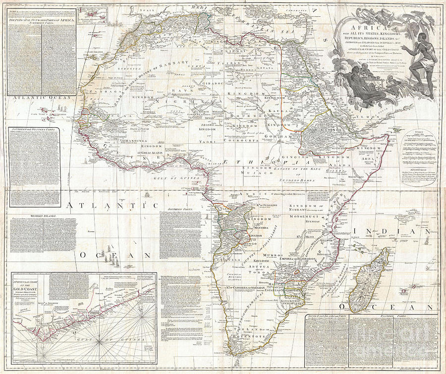 Vinatge Old World Map Of Africa Photograph