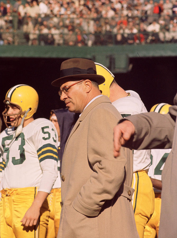 Vince Lombardi In Trench Coat Photograph