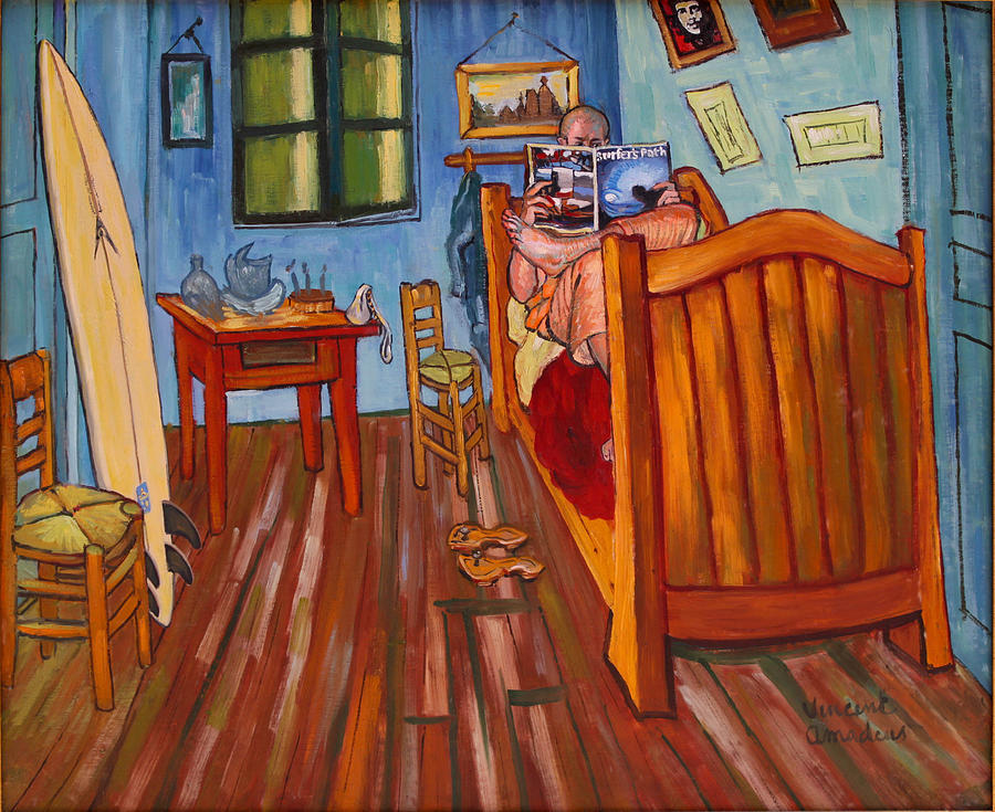 Impressionism Painting - Vincents Bedroom In Arles For Surfers-amadeus Series by Dominique Amendola