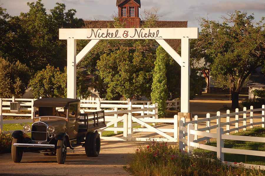 Vintage Truck Wood Railed Flatbed Fence Posts White Fence Wooden Farm Vineyard Nickel And Nickel Vineyards Napa California Ca Photograph - Vineyard Trucking by Holly Blunkall