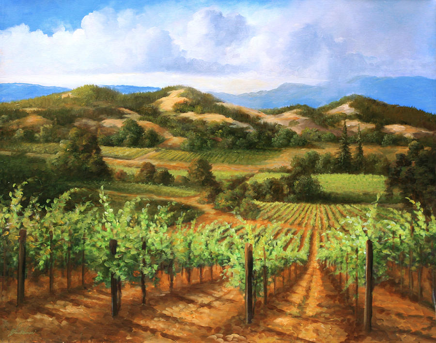Vineyards In The Valley Painting