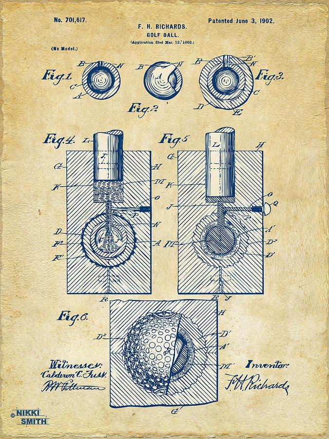 Vintage 1902 Golf Ball Patent Artwork Digital Art