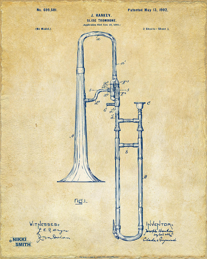 Vintage 1902 Slide Trombone Patent Artwork Drawing