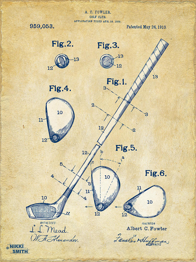 Vintage 1910 Golf Club Patent Artwork Digital Art