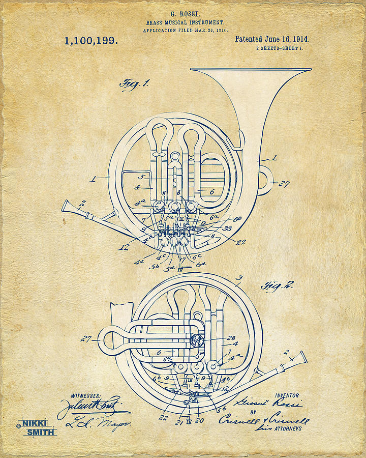 Vintage 1914 French Horn Patent Artwork Drawing