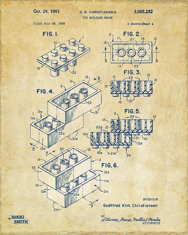 Vintage 1961 Toy Building Brick Patent Art Drawing