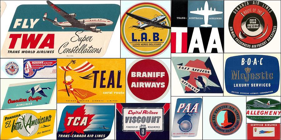 Twa Photograph - Vintage Airlines Logos by Don Struke