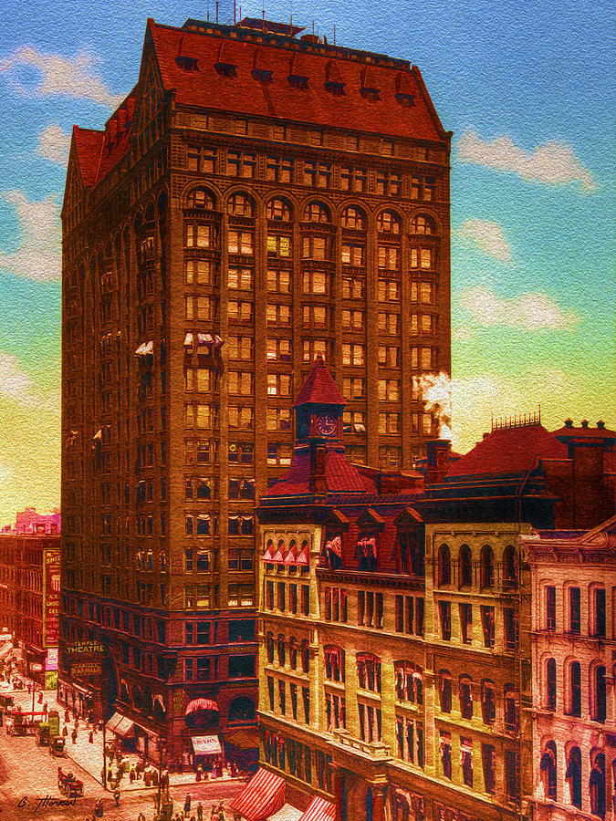 Vintage Chicago - Masonic Temple - 1901 Painting