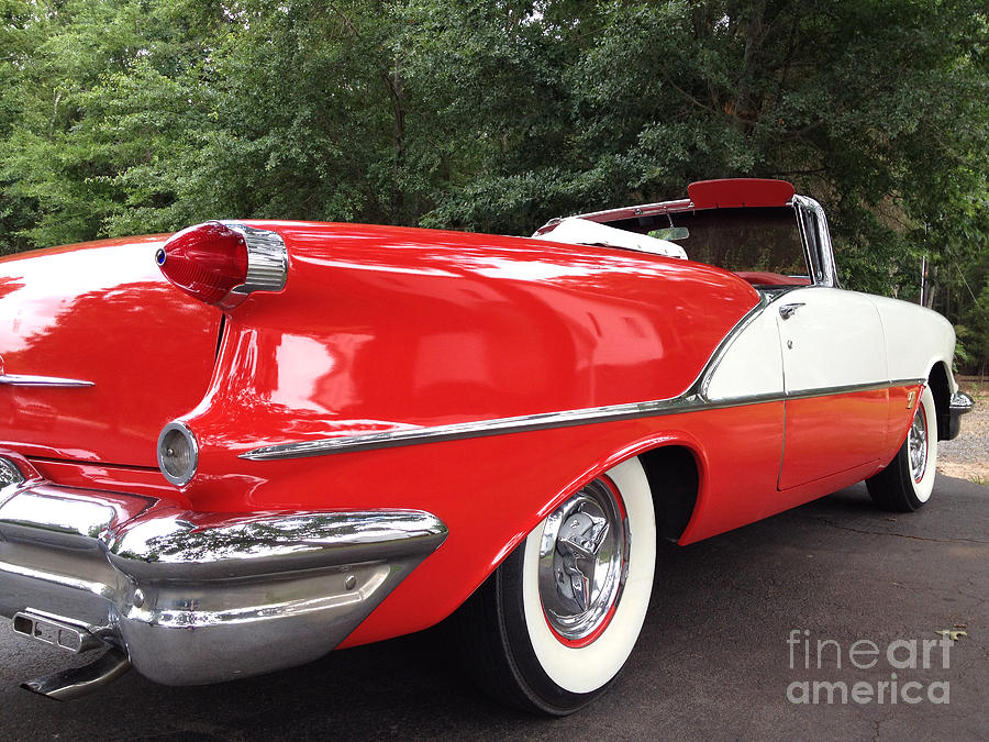 Vintage American Car - Red And White 1955 Oldsmobile Convertible Classic Car Photograph