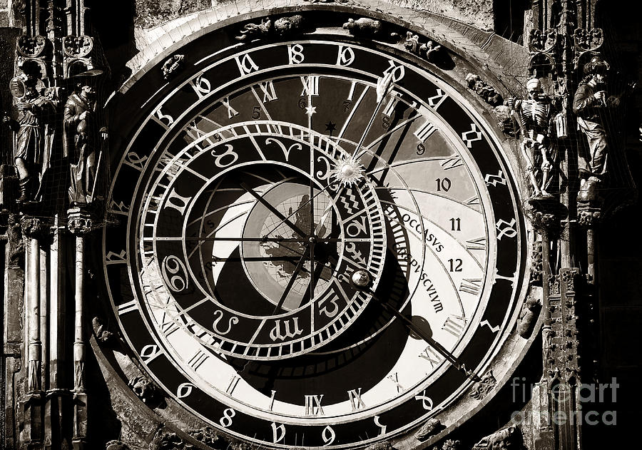 Vintage Astronomical Clock Photograph  - Vintage Astronomical Clock Fine Art Print